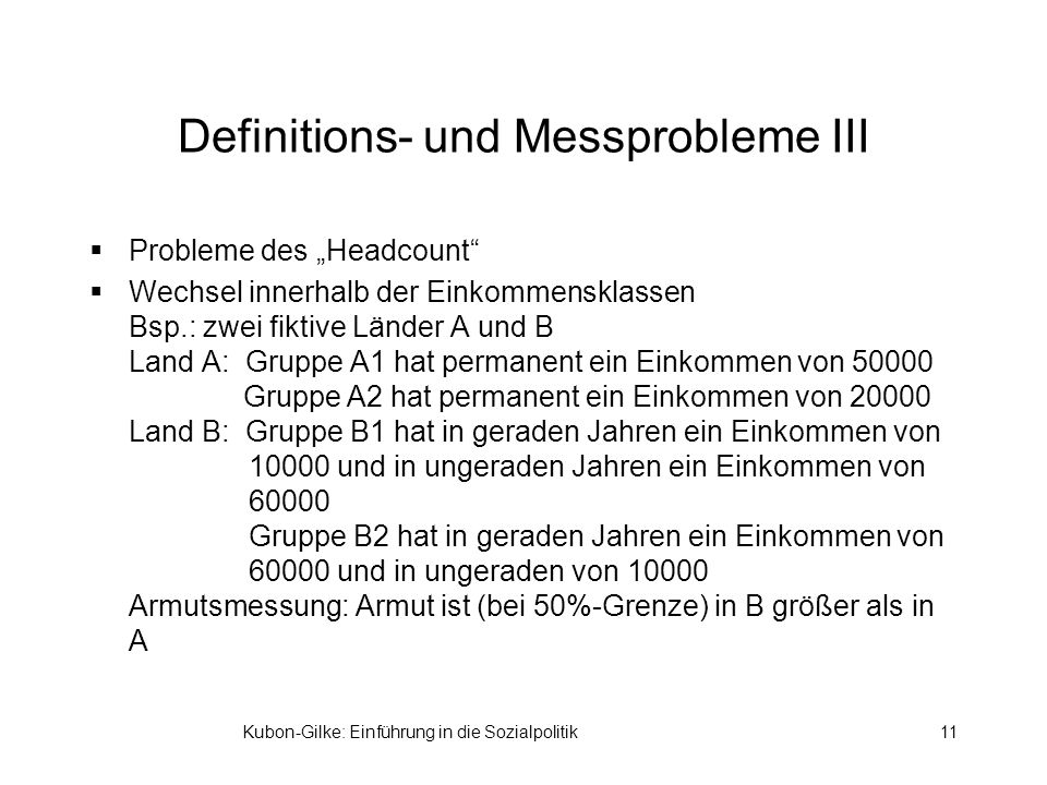 Definitions- und Messprobleme III