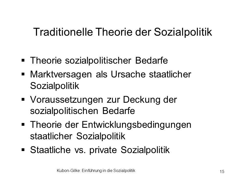 Traditionelle Theorie der Sozialpolitik
