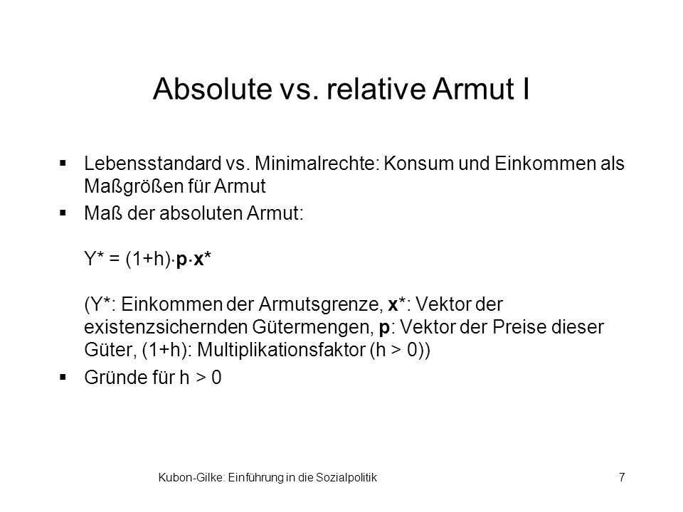 Absolute vs. relative Armut I