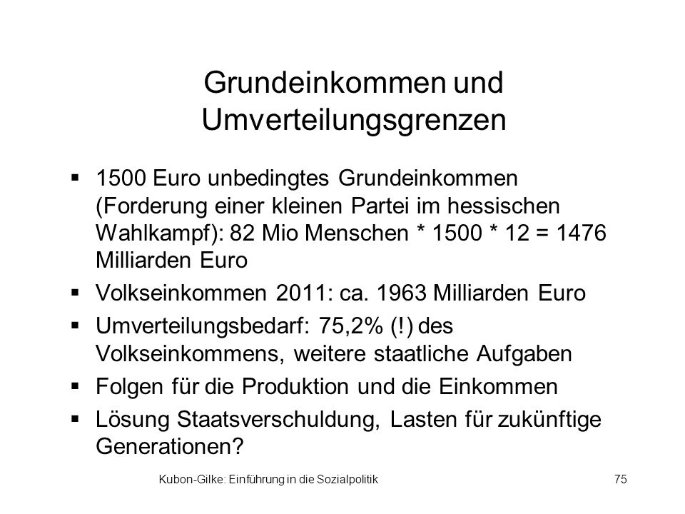 Grundeinkommen und Umverteilungsgrenzen