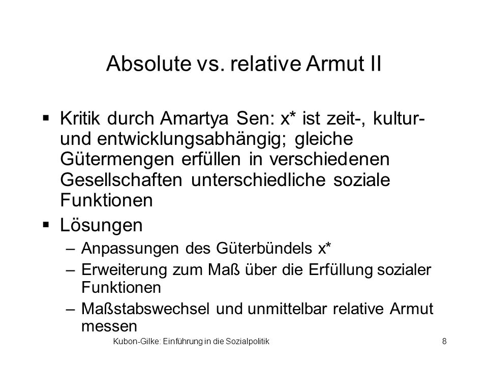 Absolute vs. relative Armut II