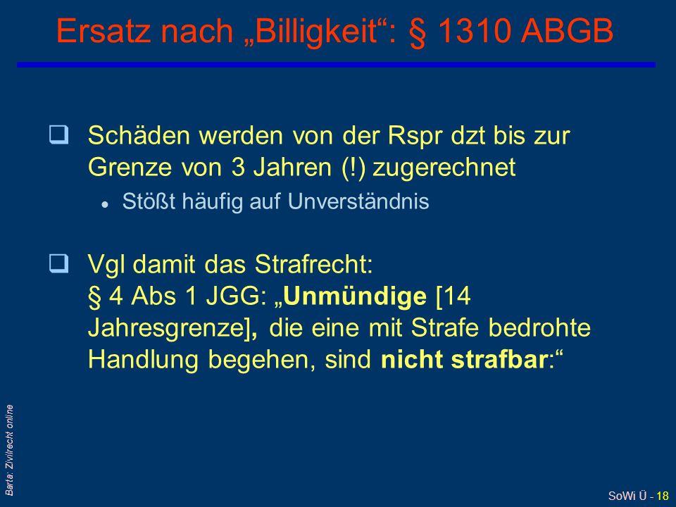 """Ersatz nach """"Billigkeit : § 1310 ABGB"""