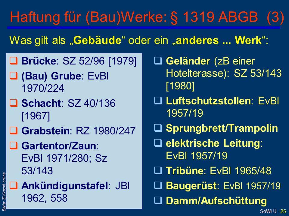 Haftung für (Bau)Werke: § 1319 ABGB (3)