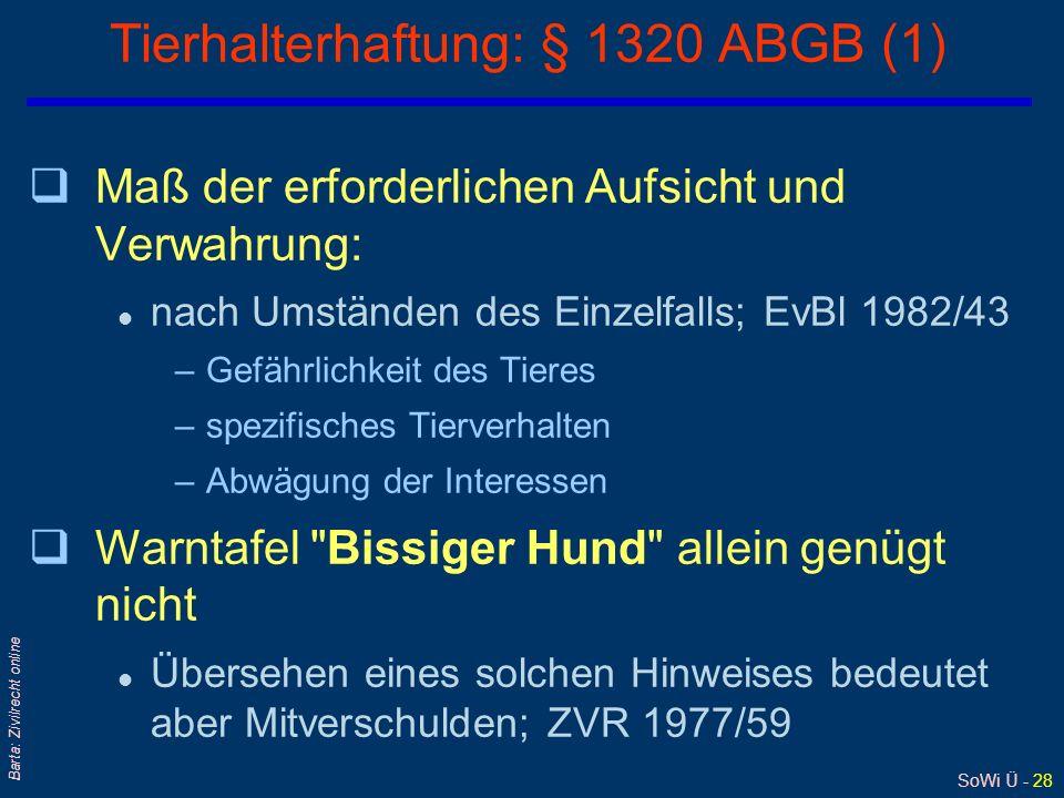 Tierhalterhaftung: § 1320 ABGB (1)