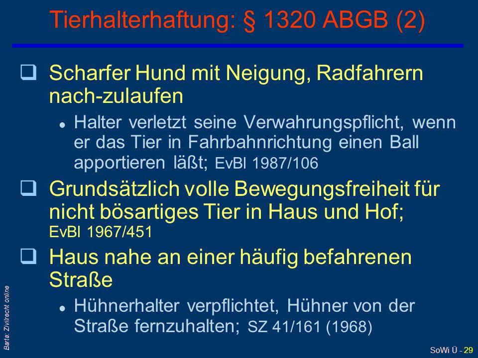 Tierhalterhaftung: § 1320 ABGB (2)