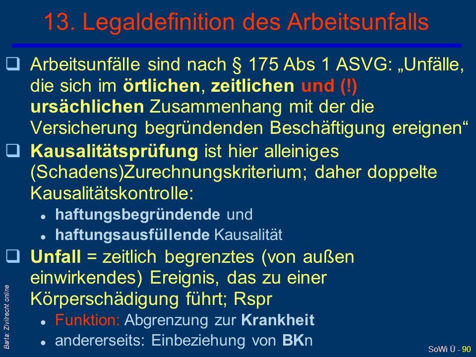 13. Legaldefinition des Arbeitsunfalls