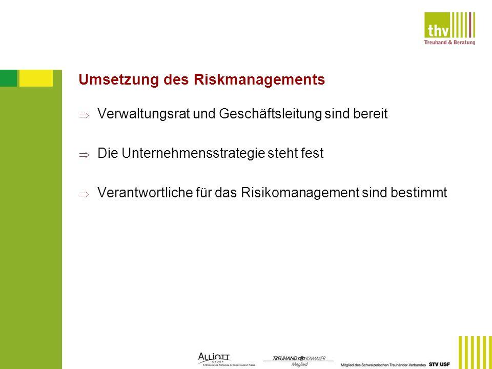 Umsetzung des Riskmanagements