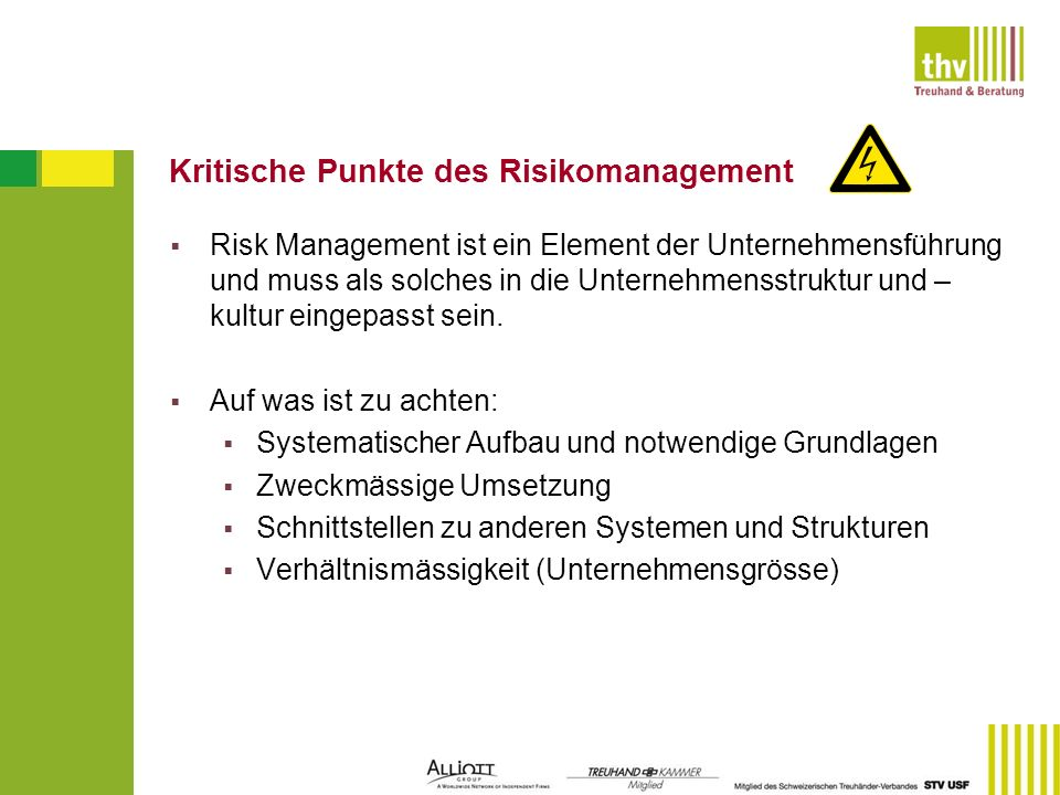 Kritische Punkte des Risikomanagement