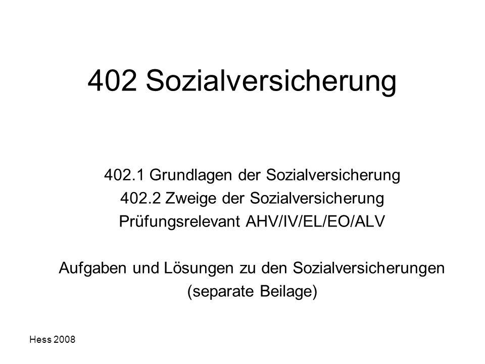 402 Sozialversicherung 402.1 Grundlagen der Sozialversicherung