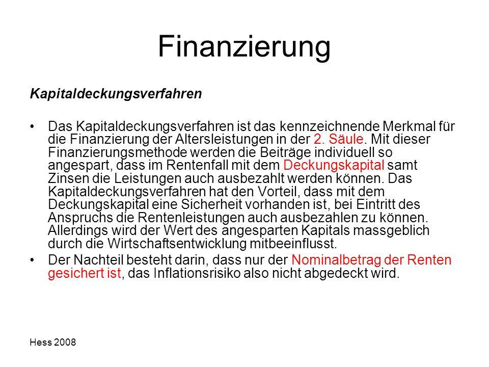 Finanzierung Kapitaldeckungsverfahren