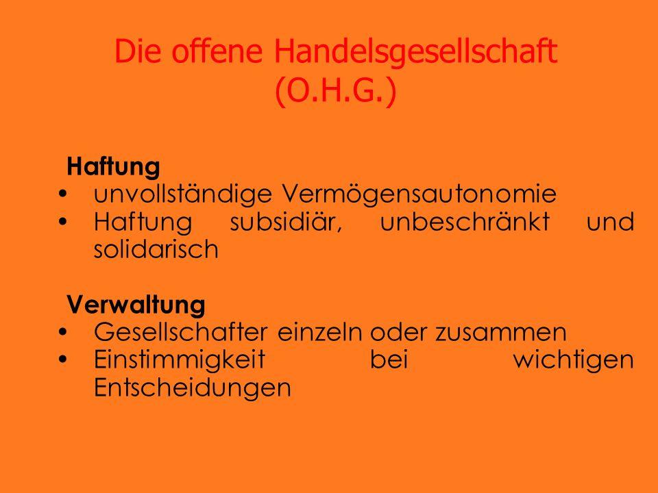 Die offene Handelsgesellschaft (O.H.G.)