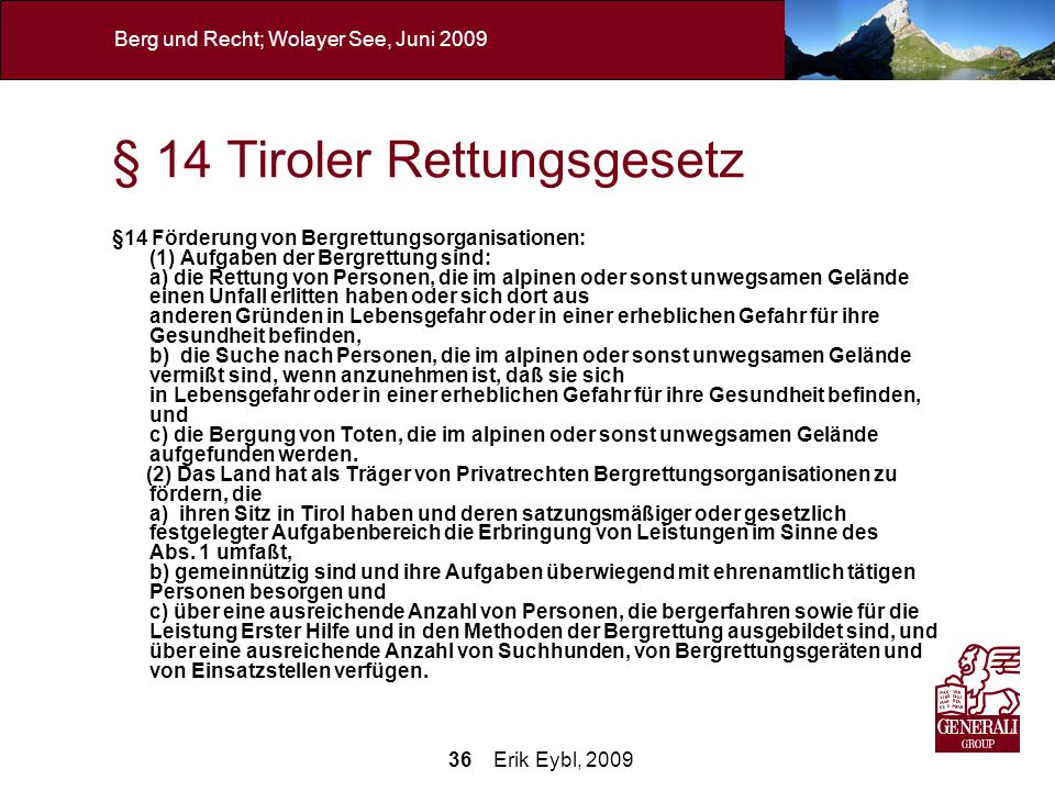 § 14 Tiroler Rettungsgesetz