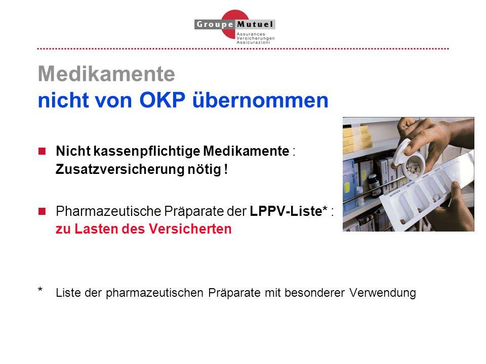 Medikamente nicht von OKP übernommen