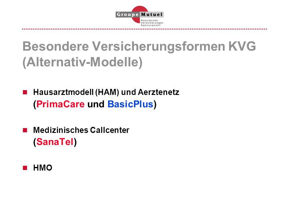 Besondere Versicherungsformen KVG (Alternativ-Modelle)
