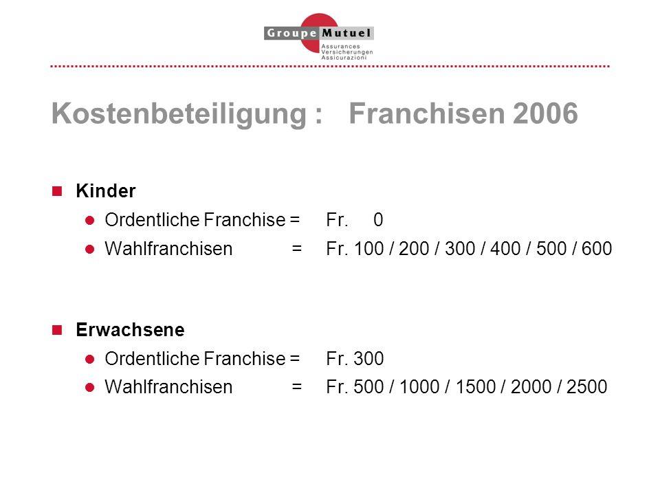 Kostenbeteiligung : Franchisen 2006