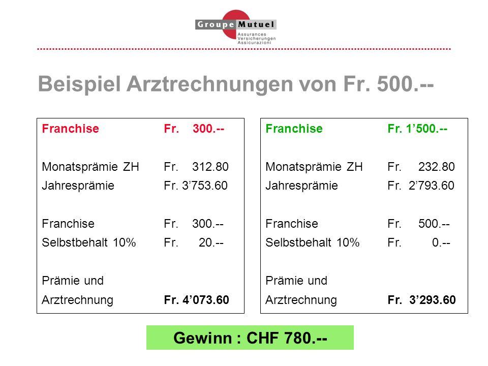 Beispiel Arztrechnungen von Fr. 500.--