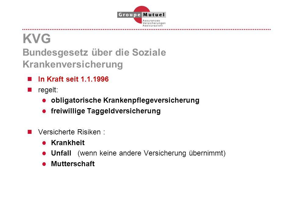 KVG Bundesgesetz über die Soziale Krankenversicherung