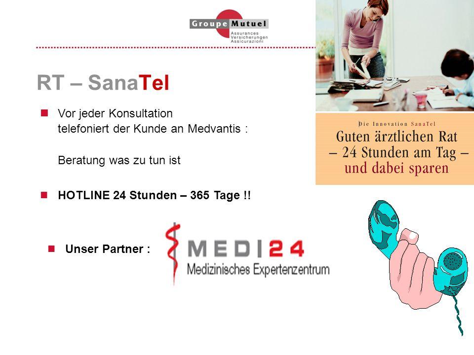 RT – SanaTel Vor jeder Konsultation telefoniert der Kunde an Medvantis : Beratung was zu tun ist.