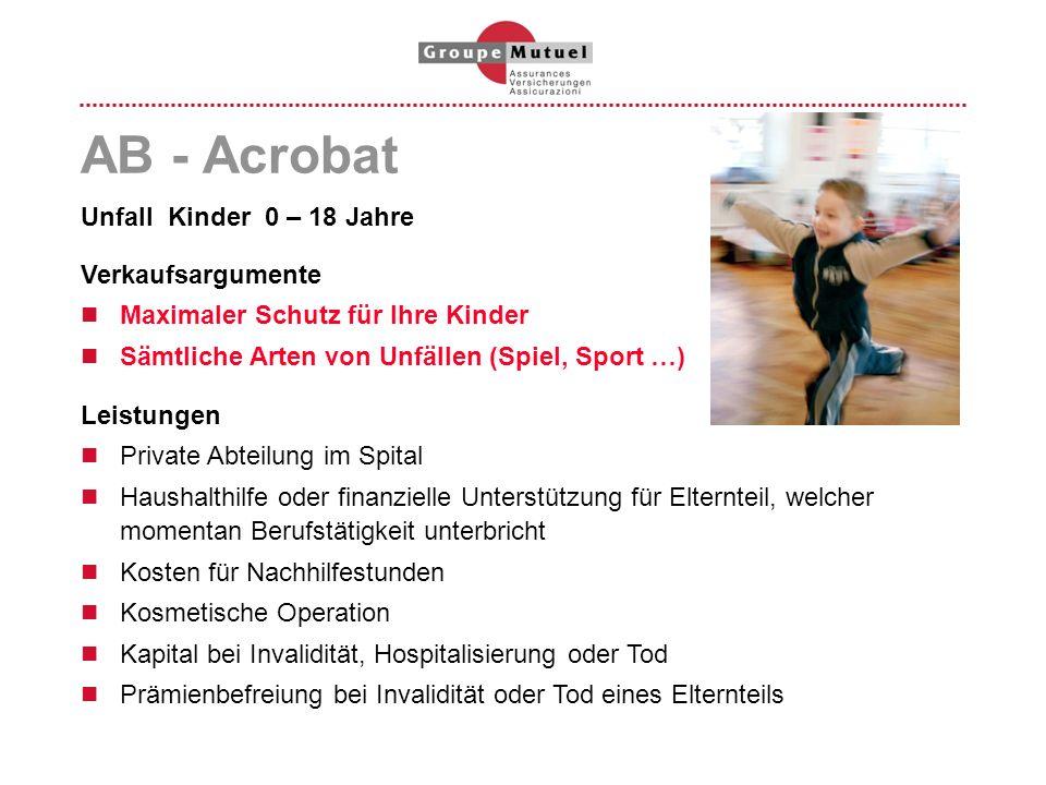 AB - Acrobat Unfall Kinder 0 – 18 Jahre Verkaufsargumente