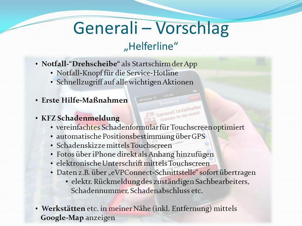 """Generali – Vorschlag """"Helferline"""