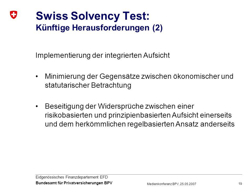 Swiss Solvency Test: Künftige Herausforderungen (2)