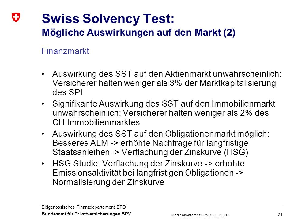 Swiss Solvency Test: Mögliche Auswirkungen auf den Markt (2)