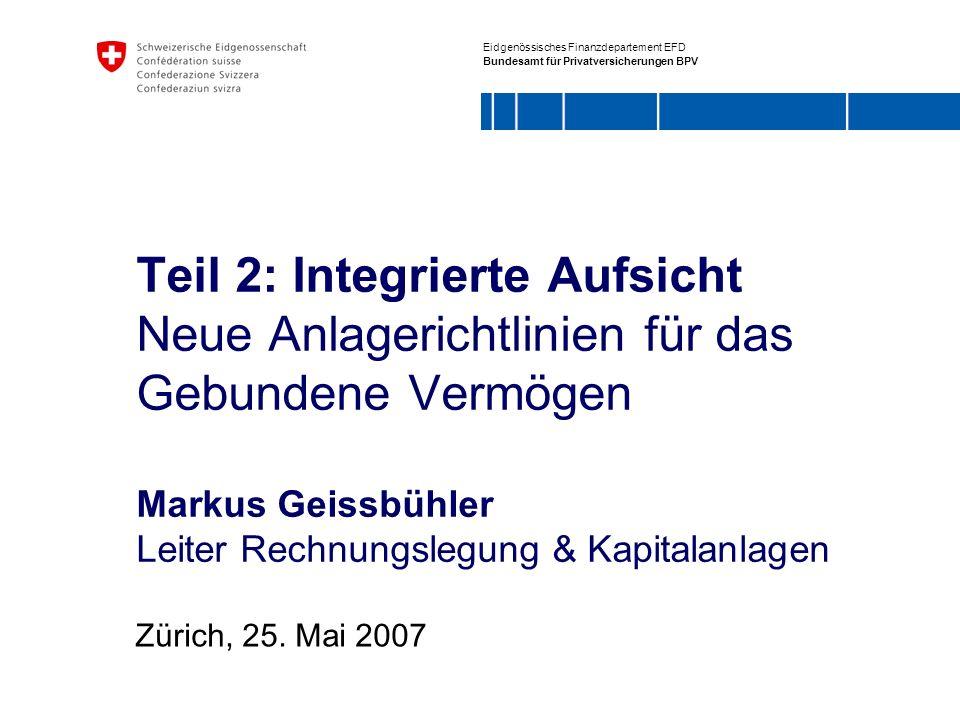 Teil 2: Integrierte Aufsicht Neue Anlagerichtlinien für das Gebundene Vermögen Markus Geissbühler Leiter Rechnungslegung & Kapitalanlagen
