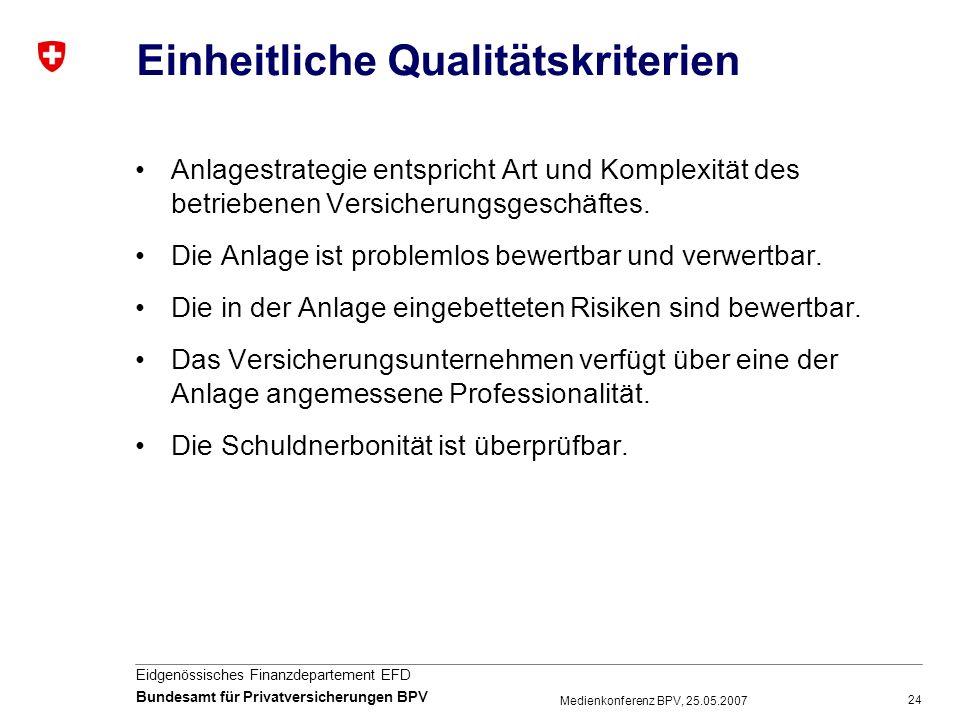 Einheitliche Qualitätskriterien