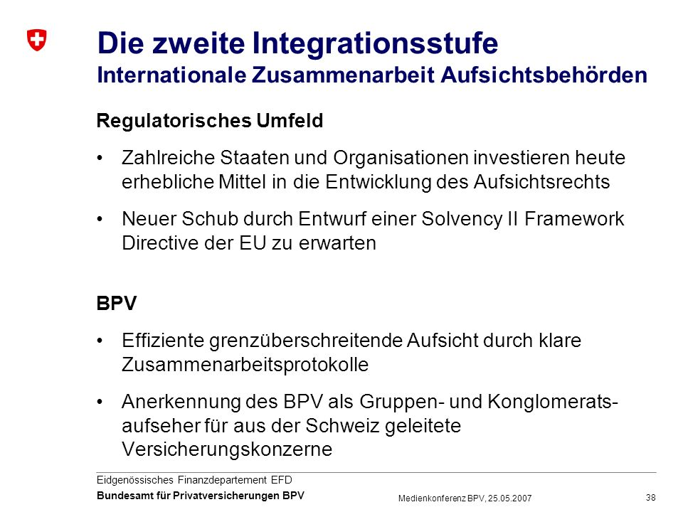 Die zweite Integrationsstufe Internationale Zusammenarbeit Aufsichtsbehörden