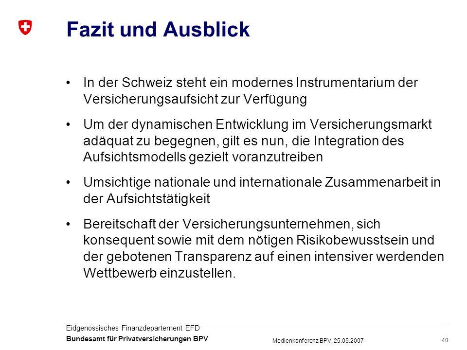 Fazit und Ausblick In der Schweiz steht ein modernes Instrumentarium der Versicherungsaufsicht zur Verfügung.
