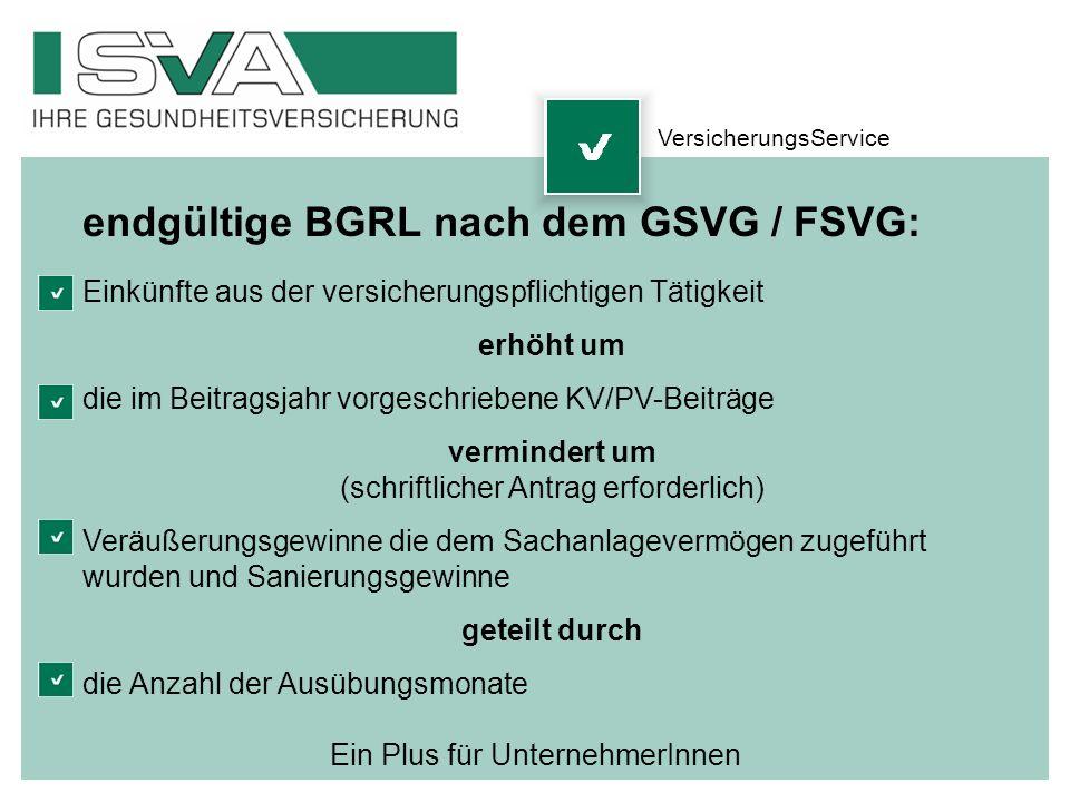 endgültige BGRL nach dem GSVG / FSVG: