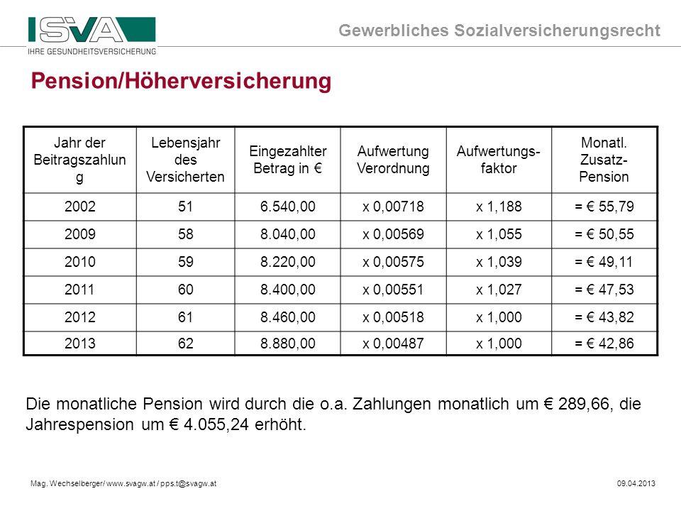 Pension/Höherversicherung