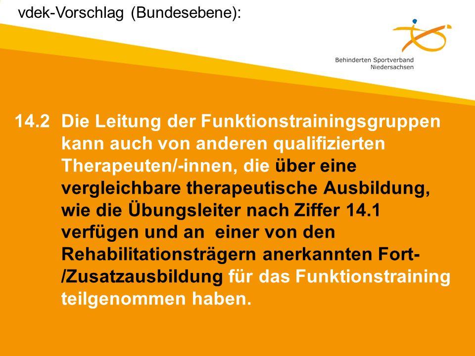 vdek-Vorschlag (Bundesebene):