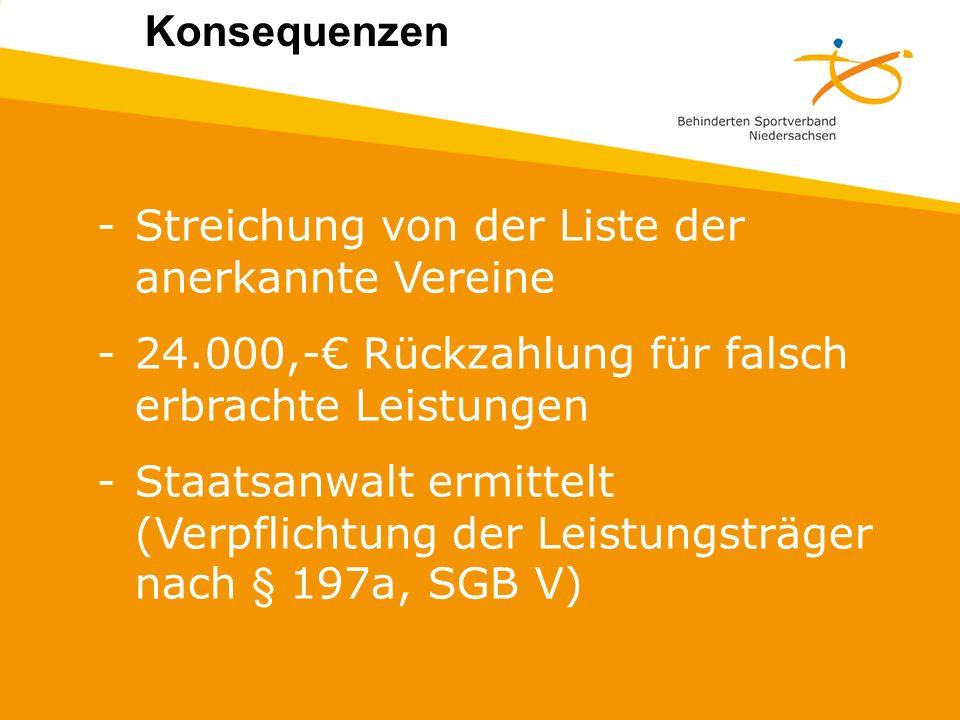 Konsequenzen: Streichung von der Liste der anerkannte Vereine. 24.000,-€ Rückzahlung für falsch erbrachte Leistungen.