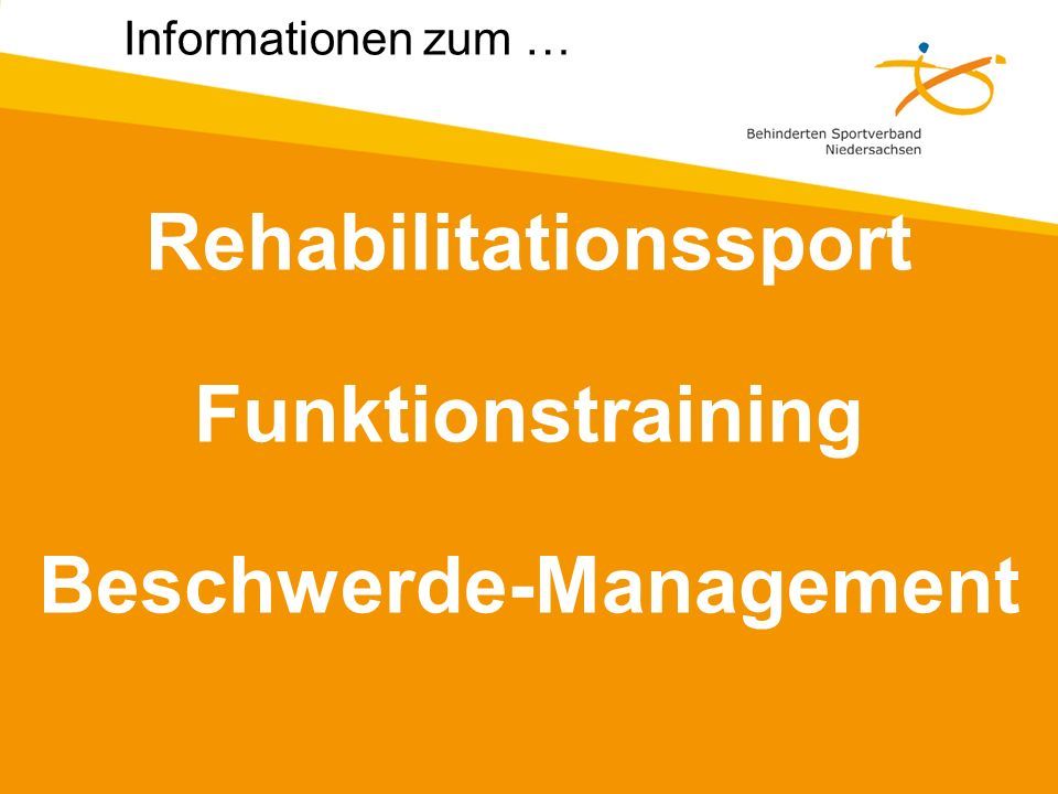 Rehabilitationssport Funktionstraining Beschwerde-Management
