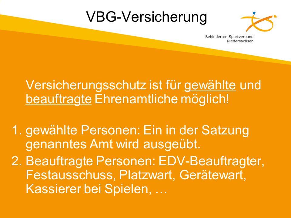 VBG-Versicherung Versicherungsschutz ist für gewählte und beauftragte Ehrenamtliche möglich!