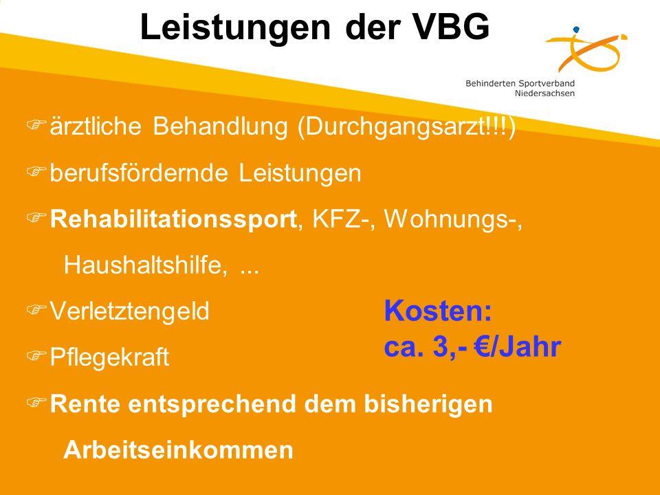 Leistungen der VBG Kosten: ca. 3,- €/Jahr