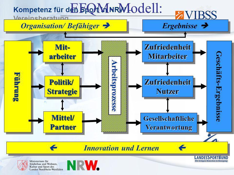 EFQM- Modell: Organisation/ Befähiger  Ergebnisse  Führung Mit-