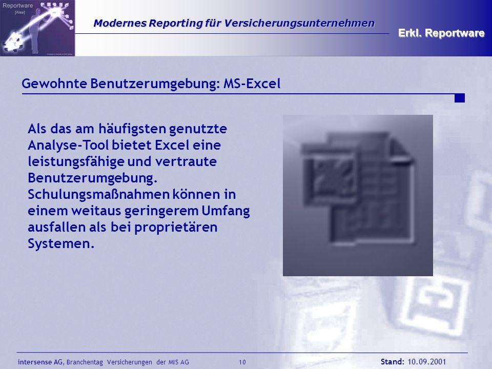 Gewohnte Benutzerumgebung: MS-Excel