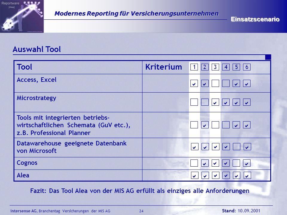 Auswahl Tool Tool Kriterium Einsatzscenario Access, Excel