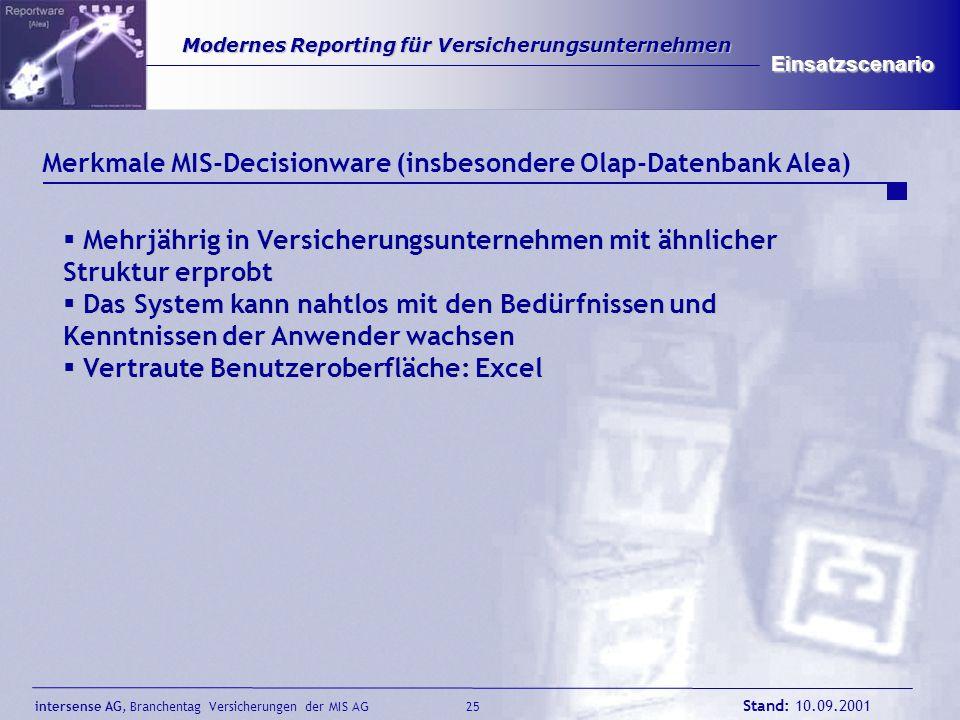 Merkmale MIS-Decisionware (insbesondere Olap-Datenbank Alea)