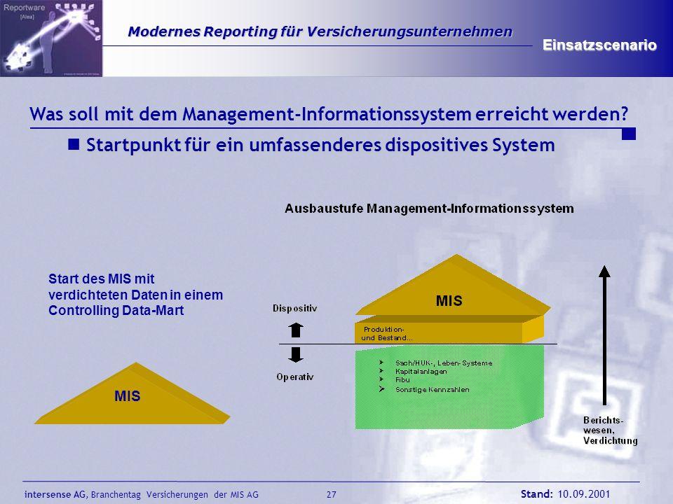Was soll mit dem Management-Informationssystem erreicht werden