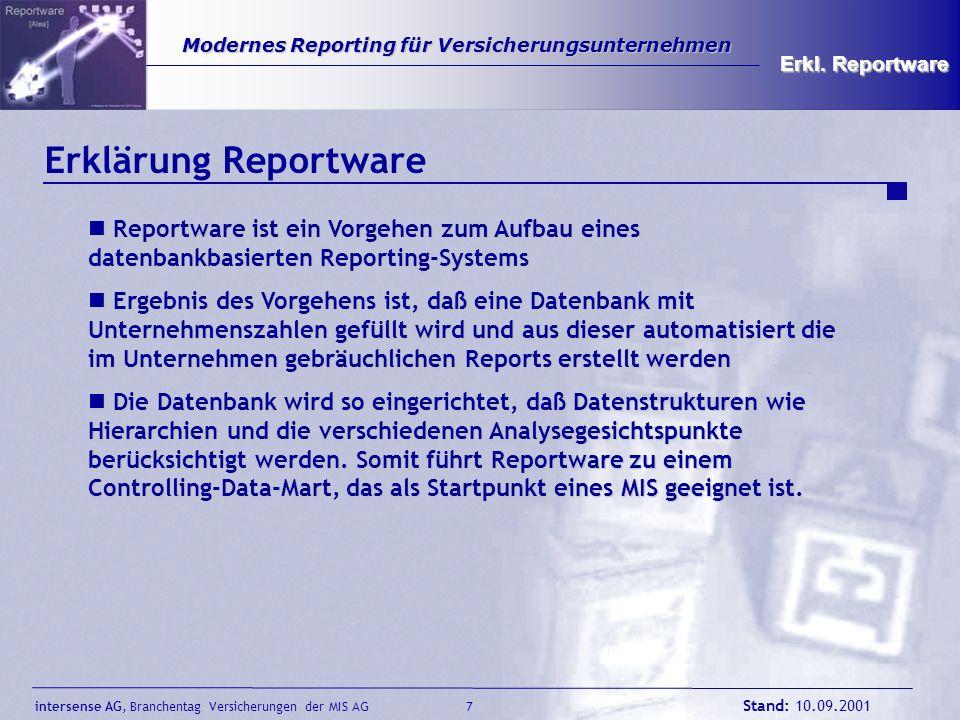 09.05.00 Erkl. Reportware. Erklärung Reportware. Reportware ist ein Vorgehen zum Aufbau eines datenbankbasierten Reporting-Systems.