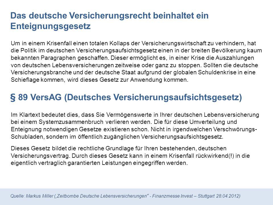 Das deutsche Versicherungsrecht beinhaltet ein Enteignungsgesetz