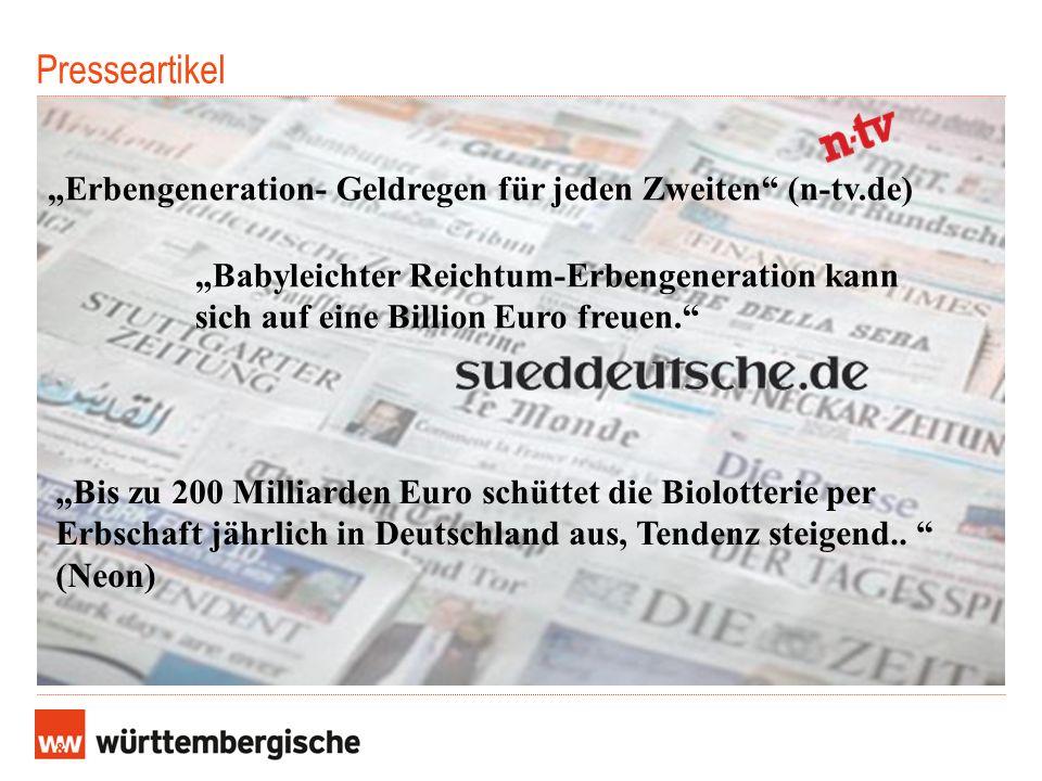 """Presseartikel """"Erbengeneration- Geldregen für jeden Zweiten (n-tv.de)"""