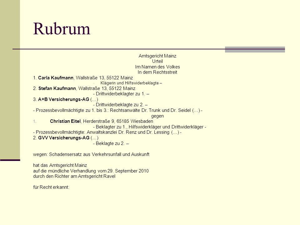Rubrum Amtsgericht Mainz Urteil Im Namen des Volkes