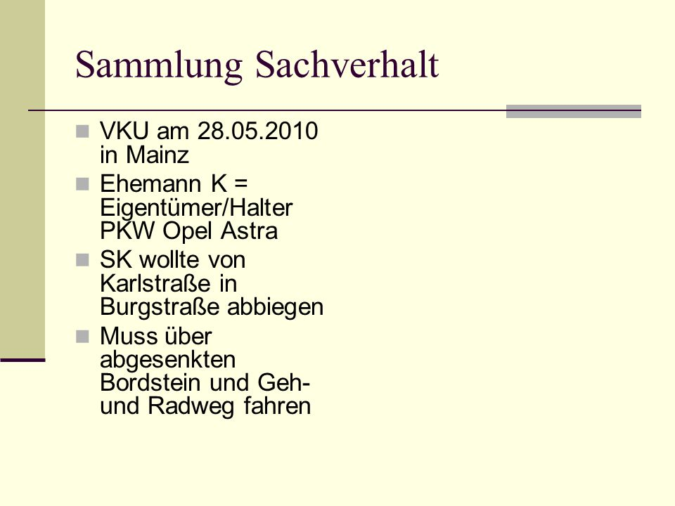 Sammlung Sachverhalt VKU am 28.05.2010 in Mainz