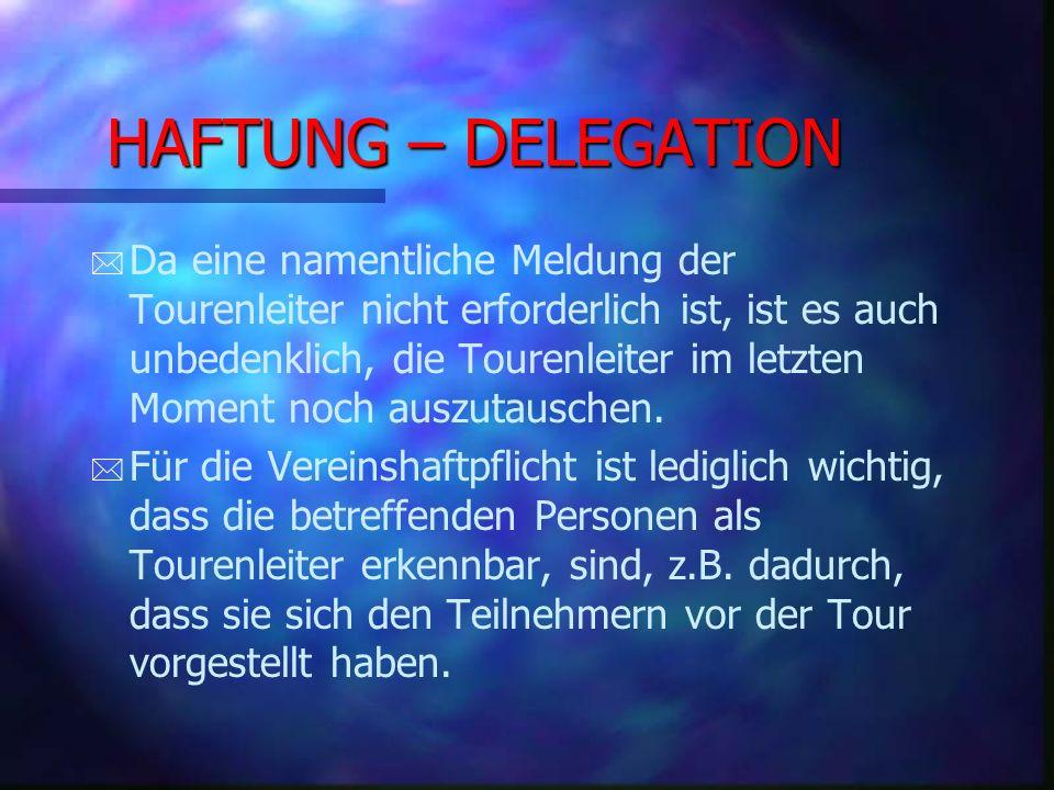 HAFTUNG – DELEGATION