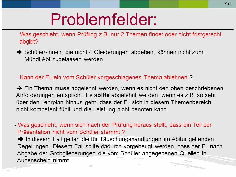 S+L Problemfelder: Was geschieht, wenn Prüfling z.B. nur 2 Themen findet oder nicht fristgerecht abgibt