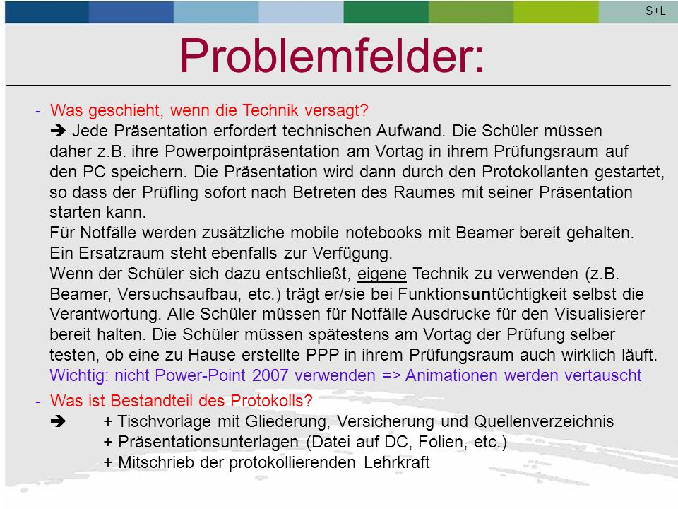 S+L Problemfelder: